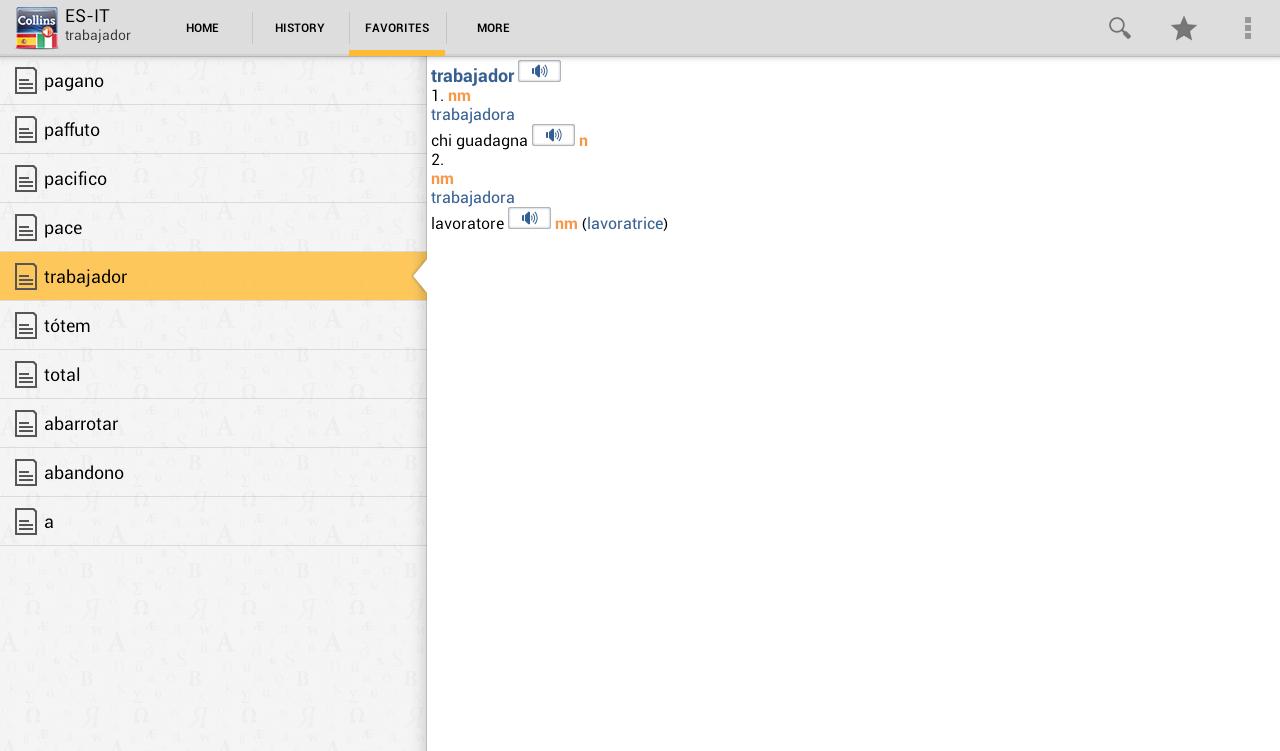 Spanish<>Italian Dictionary T - screenshot