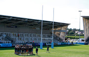 Saracens players gather beofre a training session on September 2 2018.