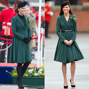 Catherine Middleton wears green Emilia Wickstead coat at St. Patrick's Day, 2013