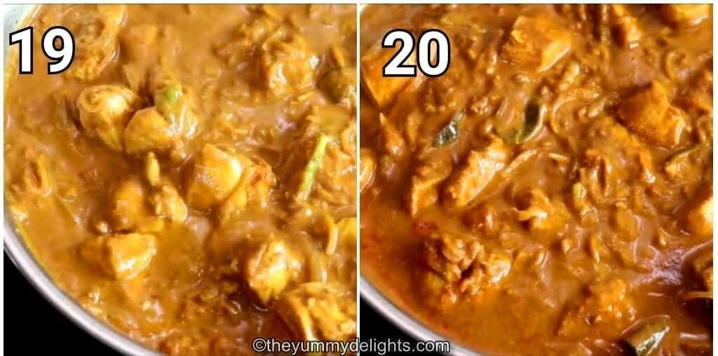 step by step image collage of addition of chettinad masala and cooking the gravy.