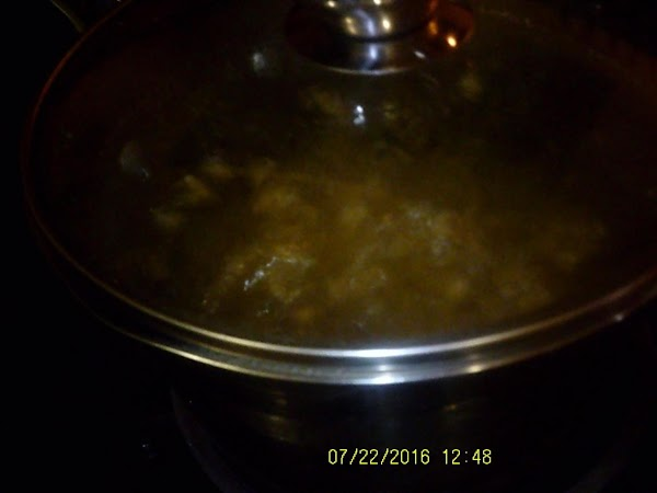 Cook on high heat and boil for 5 minutes.  Reduce to medium low...