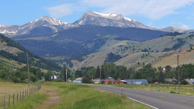 Photo: This photo was taken 2 years later as my wife and I drove into the tiny town of Pony, MT. That is Hollowtop on the horizon and Jefferson on the left. When the 4 of us climbed it, we came up on the opposite side.