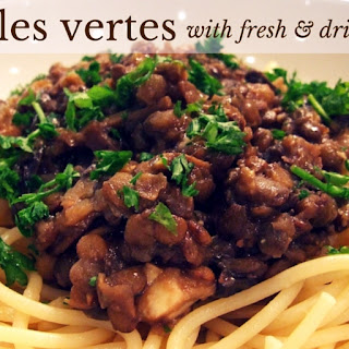 Lentilles Vertes With Fresh & Dried Mushrooms.