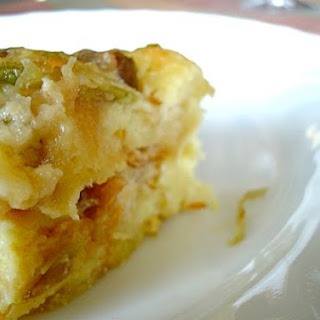 Savory Bread Pudding With Leeks and Mushrooms.