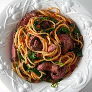 Steak and Spaghetti with a Vodka Marinara.