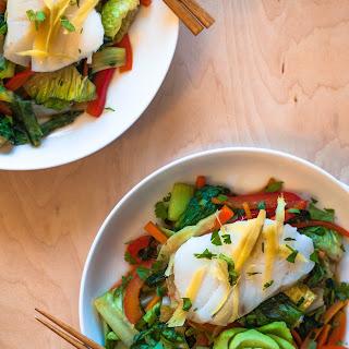 Ginger Steamed Cod with Stir Fried Salad.