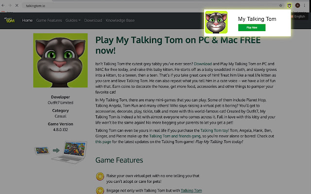 This Extension Allows You To Play My Talking Tom Game From New Tab Page