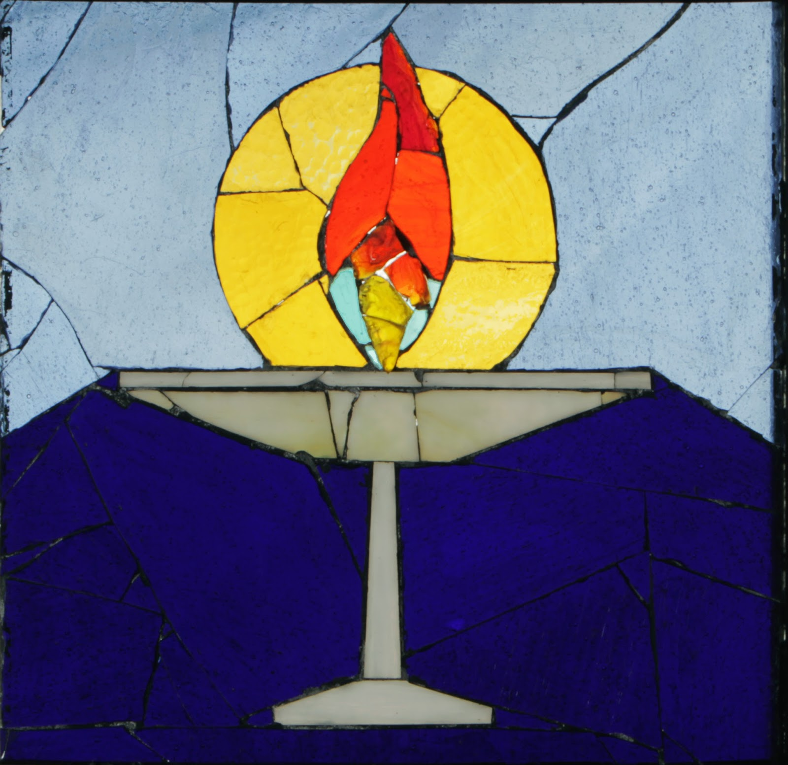 """The """"Unitarian"""" Harshman panel, one of 16 glass mosaic panels lining our sanctuary."""