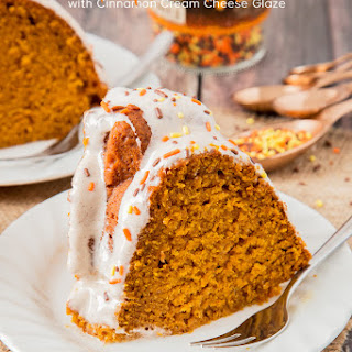 Pumpkin Bundt Cake with Cinnamon Cream Cheese Glaze