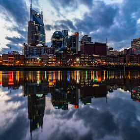 Nashville City Skyline by Justin Hyder - City,  Street & Park  Skylines ( southern, usa, broadway, nashville, city, south, dusk, destination, american, office, skyline, scenery, twilight, scene, beautiful, view, music, modern, tennessee, cityscape, landmark, riverfront, cumberland, lights, architecture, famous, business, reflection, night, downtown, skyscraper, water, urban, buildings, district, sunset, waterfront, tn, river, travel )