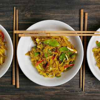 Curried Singapore Noodles With Stir-Fried Veggies.