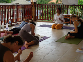 Photo: Jeenal Mehta with Yoga teacher trainees during Yoga class.
