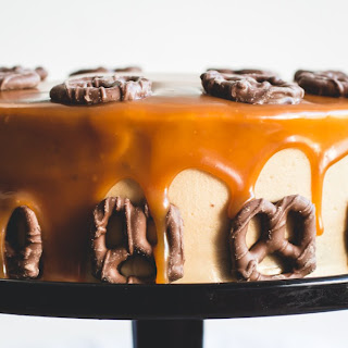 Bourbon & Peanut Butter Chocolate Cake With Salted Caramel Drizzle