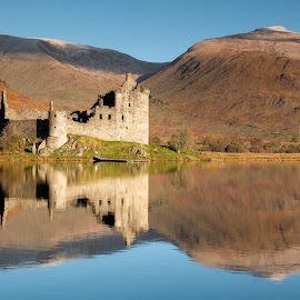Broken mirror by Neil O'Connell - Buildings & Architecture Public & Historical ( mountains, still, reflection, castle, highlands, castle kilchurn, scotland )