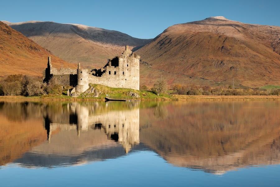 Broken mirror by Neil O'Connell - Buildings & Architecture Public & Historical ( mountains, still, reflection, castle, highlands, castle kilchurn, scotland )