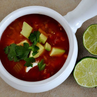 Mexican Vegetable Soup with Lentils and Rice.