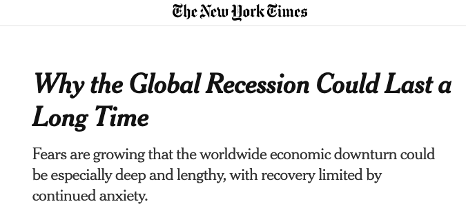 headline about global recession in the New York Times