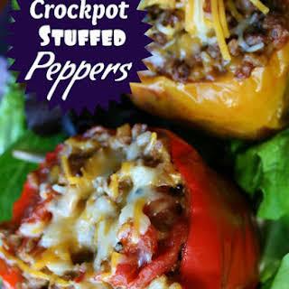 Crockpot Stuffed Bell Peppers (w/ optional vegetarian version).