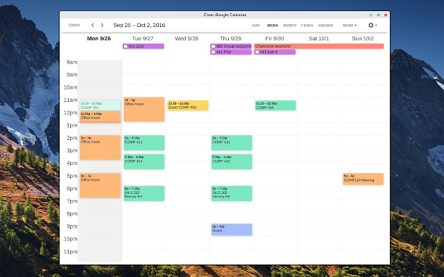 Clean Google Calendar Screenshot