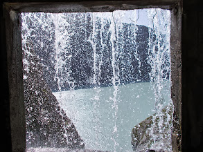 Photo: Behind the waterfall