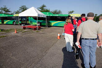 Photo: Waiting to ride the RTA bus from the Salem Mall parking lot to the Hara Arena.