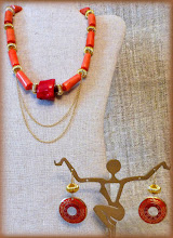 Photo: #171 CREATIVE SOUL ~ ТВОРЧА ДУША Coral, brass enamel earrings, gold plate, 14K gold vermeil (with extender) $130/set SOLD