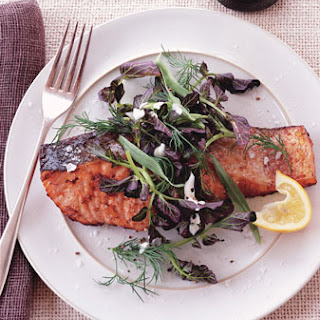 Salmon with Lemon-Pepper Sauce and Watercress-Herb Salad.
