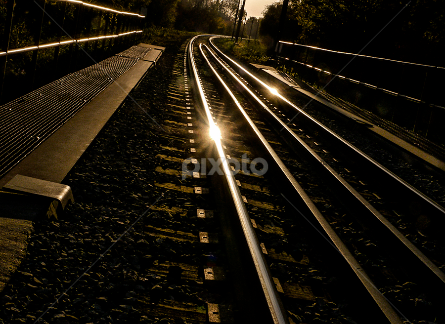 train tracks by Marianna Armata - Transportation Trains ( pattern, track, train, perspective, lines, transportation, marianna armata, flare, curves )