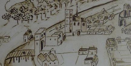Photo: Výřez z plánu Přerova s detailním pohledem na přemostění řeky Bečvy s mostní branou. V pozadí kostel sv. Marka podle kresby Dismase Hoffera z poloviny 18. století. Moravský zemský archiv Brno.