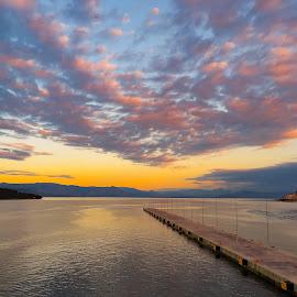 Jetty Sunset by Michael Jenkinson Gay - Landscapes Sunsets & Sunrises ( jetty sunset water sea sky )
