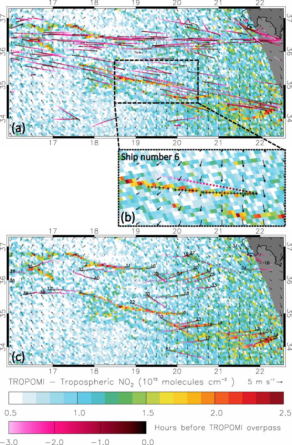 Patrones de concentración de dióxido de nitrógeno en condiciones de brillo solar