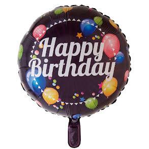 Folieballong, happy birthday svart