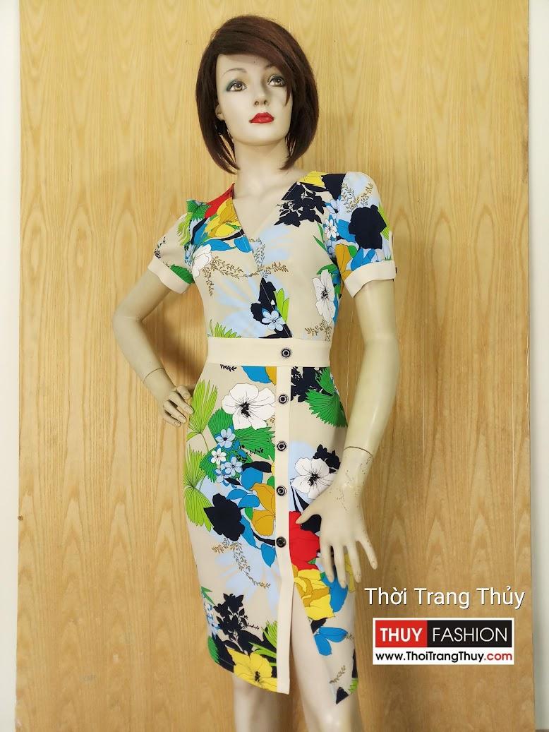 Váy hoa xẻ tà kiểu công sở dạo phố V615 Thời Trang Thủy