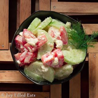 Tomato & Cucumber Salad w/ Lemon Dill Dressing