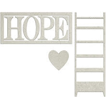 FabScraps Lavender Breeze Die-Cut Chipboard - Hope W/Heart & Ladder