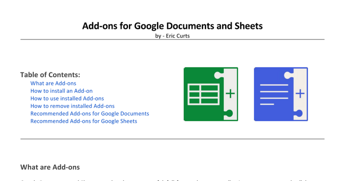 Add-ons for Google Documents and Sheets