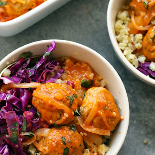 Red Coconut Curry Meatball Bowl with Cauliflower Rice.
