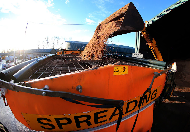 Photo: Stirling council gritting lorry isreloaded with rocksalt at the council depot in Stirling, in preparation to  grit roads in the Stirling area. PRESS ASSOCIATION Photo. Picture date: Monday January 14, 2013. See PA story WEATHER Snow. Photo credit should read: Andrew Milligan/PA Wire