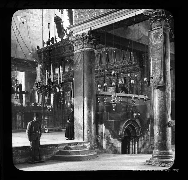 Photo: 'Interior of the Nativity' [The Church of the Nativity. Note the Turkish guard on duty, as well as the Greek Orthodox priest]