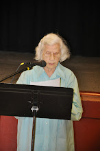 Photo: Winifred Jaeger reads her poetry.