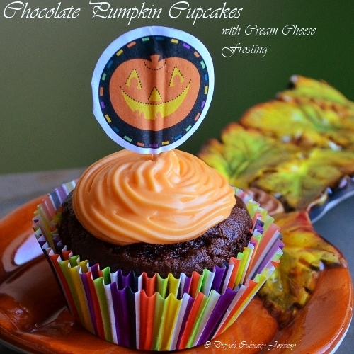 Chocolate Pumpkin Cupcake with Cream cheese frosting(Eggless ...