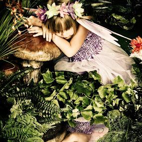 Garden Fairy by Brooke Beauregard - Babies & Children Child Portraits ( child, reflection, fairy, forest, garden )