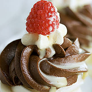 Pavlovas with Chocolate Mascarpone Mousse and Mascarpone Creme Anglaise.