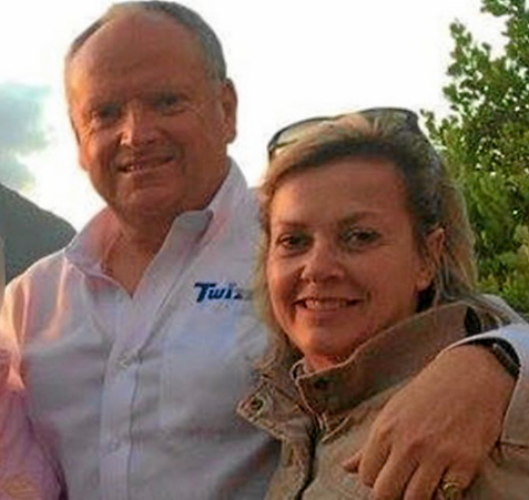 Rob Packham with his wife Gill, whom he is accused of murdering.