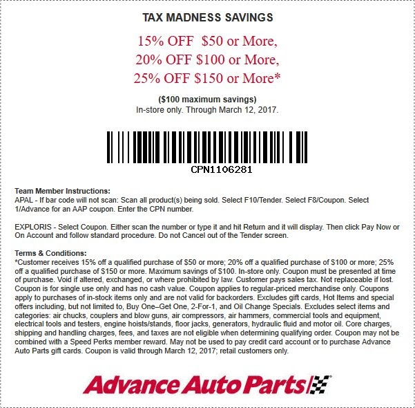Advance Auto In Store Coupons >> 15 25 Off 50 At Advance Auto Parts 03 12 2017 Free