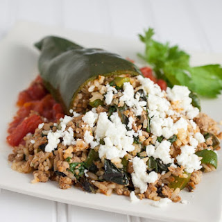 Turkey and Rice Stuffed Poblano Peppers.