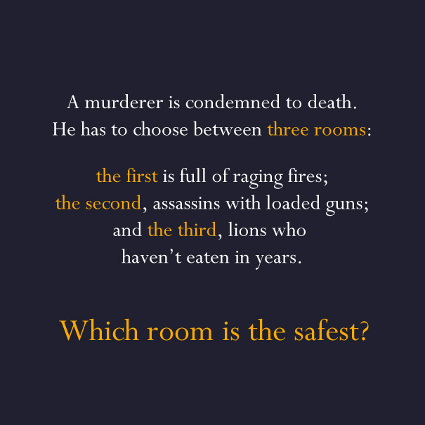 Riddle asking which room is the safest