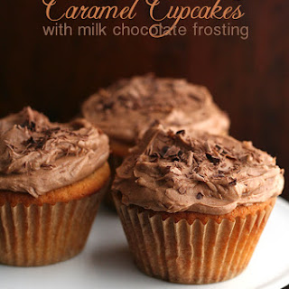 Caramel Cupcakes with Milk Chocolate Frosting.