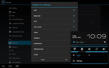 Photo: Here we can enable the EOS quick settings.