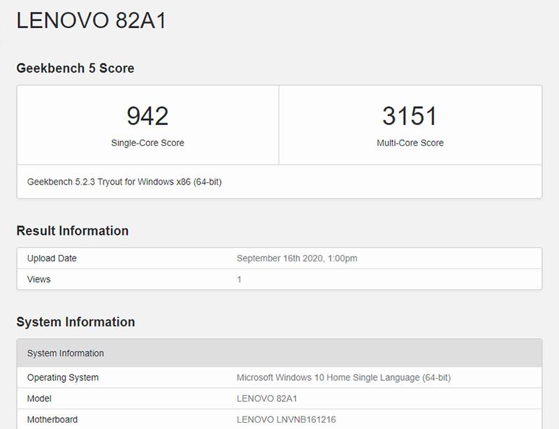 Đo CPU của Lenovo Yoga Slim 7 bằng Geekbench 5